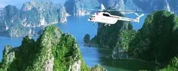 Tourists are enjoying Halong Bay tour by helicopter - TL102