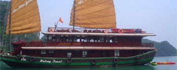 Tourists are enjoying Exclusively cruise Halong Bay with Annam Junk - TL123