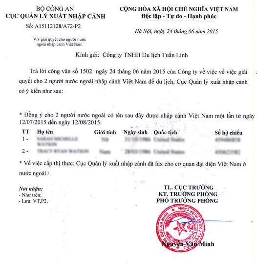 A visa approval letter to get visa at Vietnam Embassy/Consulate