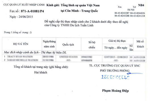 A fax from Vietnam Immigration Office to Vietnam Embassy/Consulate to confirm the Approval Letter