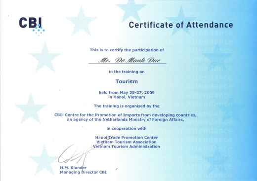 Tuan Linh Travel and CBI's tourism training course in Hanoi, Vietnam