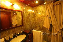 Bath room with shower in Halong Ginger Junk, Halong Bay, Vietnam private tours