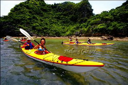 Self exploring with kayaking, an extra service in Halong Ginger Junk, Halong Bay, Vietnam private tours