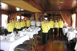 Staffs and crews in Halong Ginger Junk, Halong Bay, Vietnam private tours