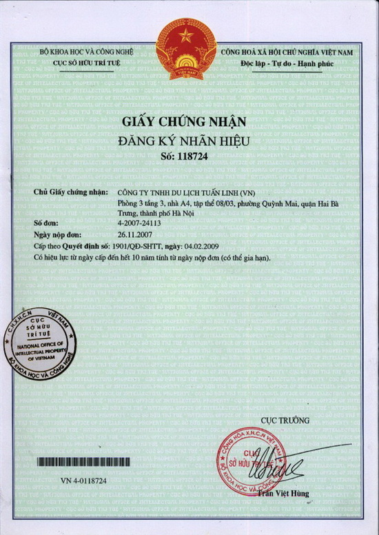 Tuan Linh travel's license of Intellectual property right holder
