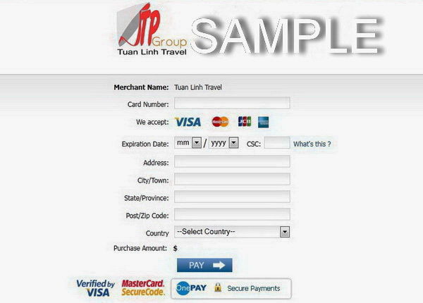 Vietnam travel services: online payment with credit card