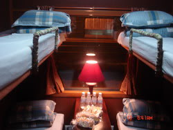 Soft berth in Royal train, a tourist train from Hanoi to Sapa, Lao Cai, Vietnam