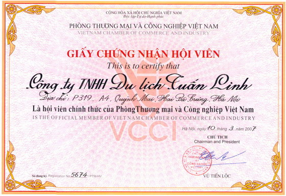 Tuan Linh Travel, an official member of Vietnam Chamber of Commerce and Industry (VCCI)