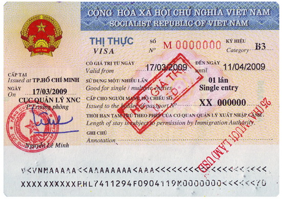 Sample of Vietnam visa issued on arrival