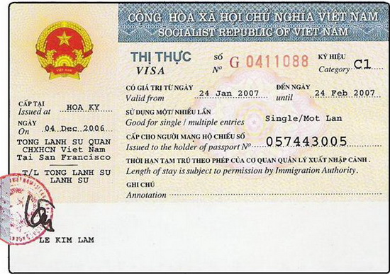 Vietnam visa issued at Vietnam Embassy/Consulate