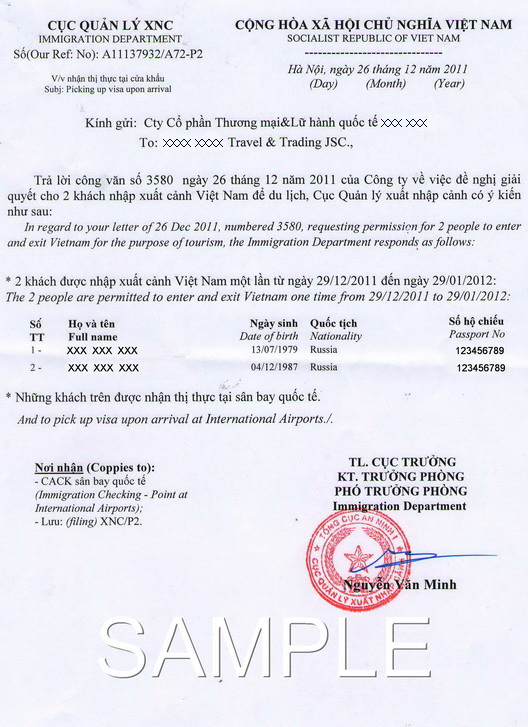 Sample of Vietnam visa approval letter