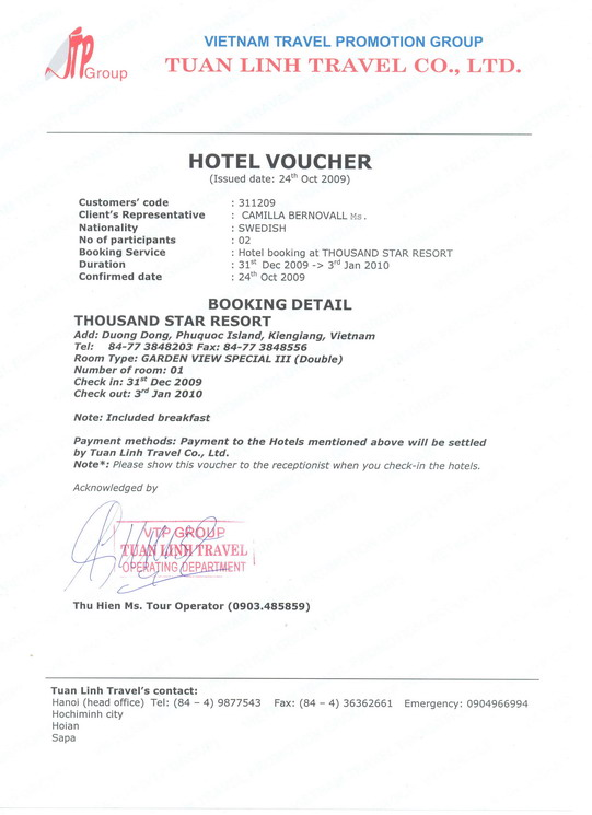 Sample of a hotel voucher, Tuan Linh Travel